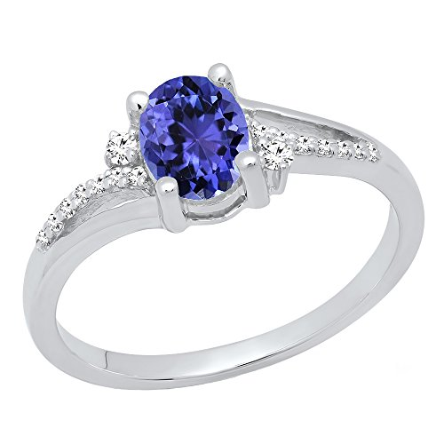 Dazzlingrock Collection Sterling Silver 7X5 MM Oval Tanzanite & Round Diamond Ladies Bridal Engagement Ring, Size 6 ()