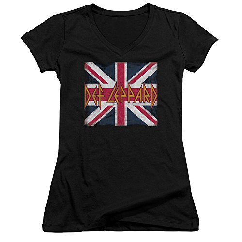 Def Leppard Union Jack - Def Leppard - Union Jack - Juniors V-Neck T-Shirt - Large