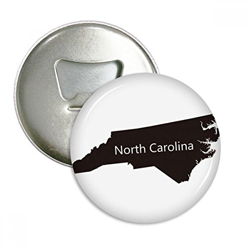 (Carolina The United States North Map Silhouette Round Bottle Opener Refrigerator Magnet Pins Badge Button Gift 3pcs)