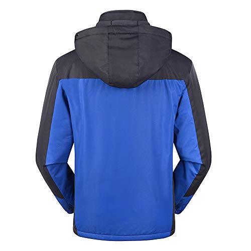 Mens Winter Outdoor Cashmere Thickening Zipper Hoodie Sport Outdoor Assault Waterproof Casual Sports Coat Blue