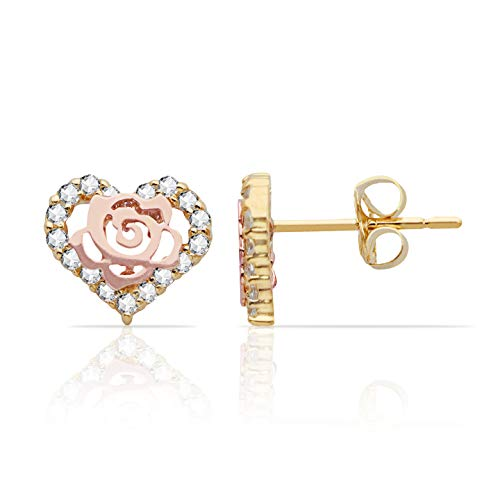 Rose Inside a CZ Heart Stud Earrings in 14K Yellow and Rose Gold for Women and Girls ()
