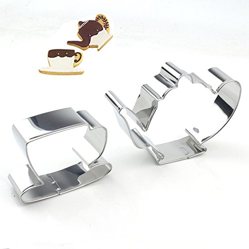 GXHUANG Tea Pot & Tea Cup Sugar Biscuit Cookie Cutter Set - Stainless Steel (Pot and Cup),for Anniversary Birthday Wedding Party (Cutter Cookie Teacup)