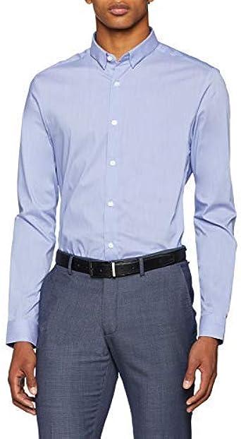 New Look Muscle Fit Stretch Camisa de Oficina, Azul (Light ...