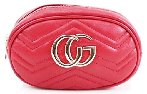 Gossip Girl - Designer Inspired Quilted Faux Leather Flap Shoulder Clutch Bag Evening Cross Body Bum Belt Bag With Gold Chain Strap Ideal For Prom, Parties, Bridal, Weddings,Travel Chevron - Red