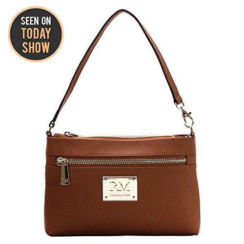 Robert Matthew Fashion Designer Luxury Sofia 24k Gold Brown Leather Clutch Purse Small Shoulder Bag Handbags for Women