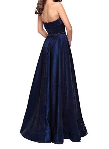Abendkleider Brautmutterkleider A Damen Traube Satin Schwarz Lang Linie Partykleider Festlichkleider Charmant Herzausschnitt ICBww
