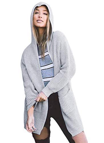 Femme Cardigan lgant Mode Vintage Dsinvolte Manteau en Tricot Printemps Automne Longues Gaine A Capuche Vtements Uni Manche Manches Longues  Capuchon Manteau Outerwear Grau