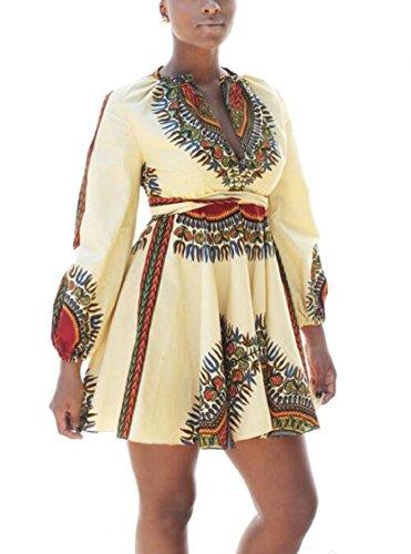 Jaycargogo Manches Longues Traditionnel Des Femmes Imprimés Africains Une Ligne Robe De Toge Blanche