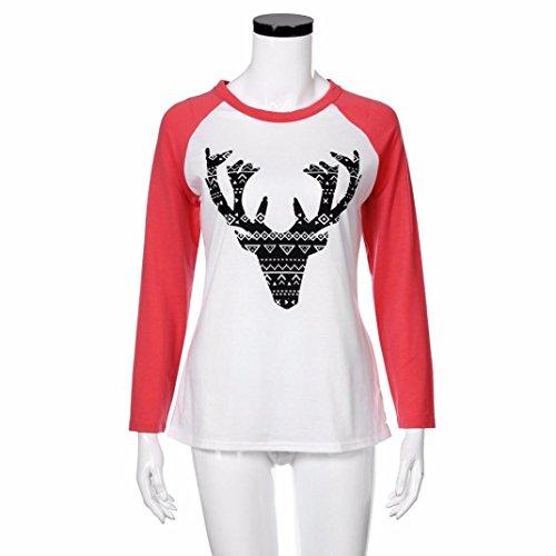 T-shirt Donna,LandFox Donne Buon Natale Alce Stampare Manica Lunga Splicing Superiore Maglietta