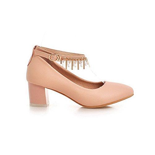 Damen Blend-Materialien Reißverschluss Rund Zehe Mittler Absatz Pumps Schuhe, Schwarz, 38 VogueZone009