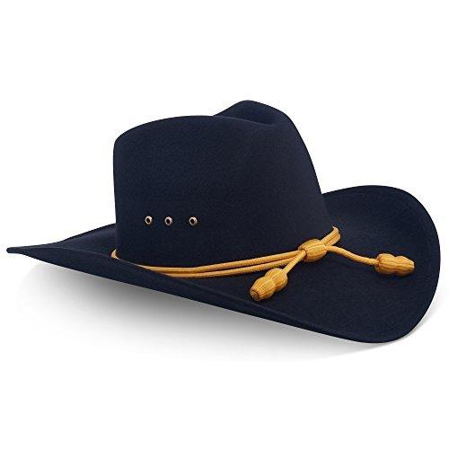 Western Cowboy Hat - Black Pinch Front Faux Felt Elastic ...