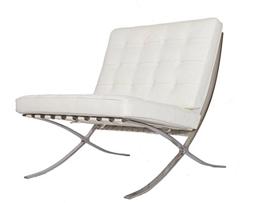 eMod – Modern Pavilion Barcelona Chair Italian Leather White