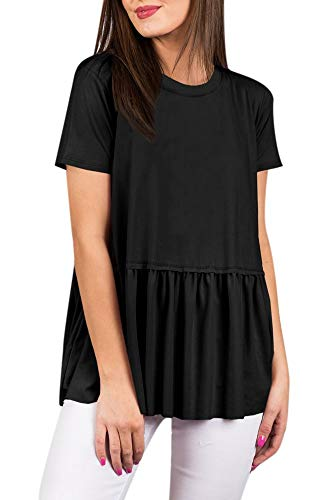 (For G and PL Women Pleated Summer Casual Short Sleeve T Shirt Flare Cotton Loose Peplum Hem Cute Tunic Top Black XL)
