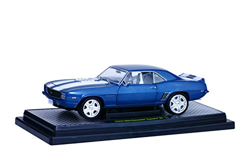 1969 Chevrolet Camaro RS Coastal Blue Pearl with White Stripes 1/24 by M2 Machines 40300-52A (1969 Camaro Diecast compare prices)