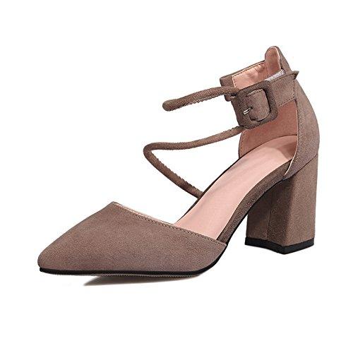 SLC03257 AdeeSu Sandals Heels Buckle Bandage Heels Square Chunky Urethane Camel Womens BBxHrqw6z