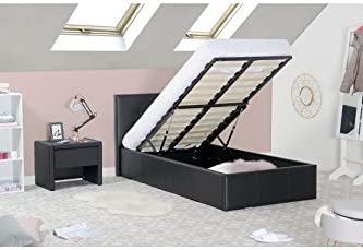 Silvio cama baúl 90 x 190 PU negro con somier: Amazon.es ...