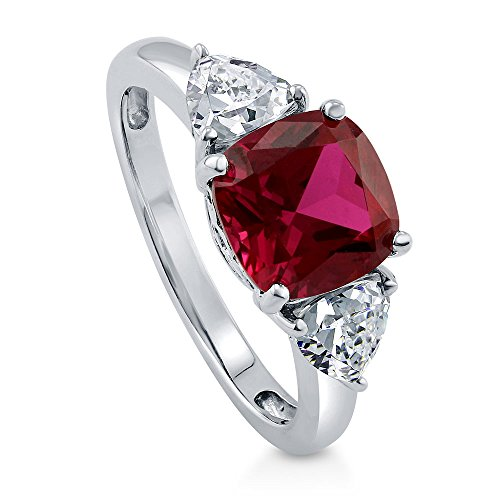 8mm Trillion Prong Ring Setting - BERRICLE Rhodium Plated Sterling Silver Simulated Ruby Cushion Cut Cubic Zirconia CZ 3-Stone Anniversary Engagement Ring 3.84 CTW Size 7