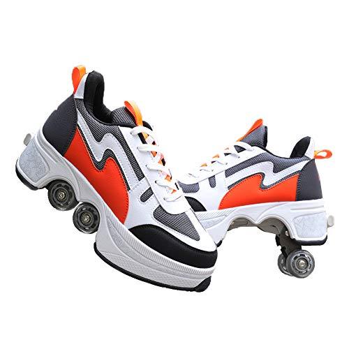 MLyzhe Four-Wheeled Roller Shoes Female Automatic Dual-Purpose Skates Casual Deformation Double-Row Roller Skates (43, Orange)