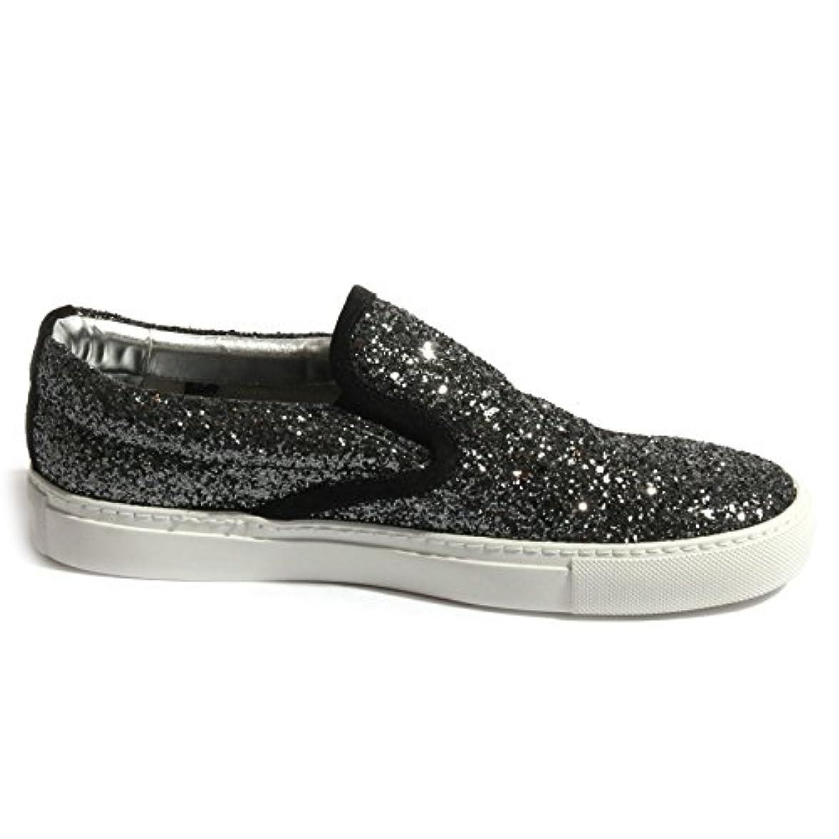 B0417 Sneaker Donna P448 E5 Slipon Scarpa Nera Glitter Shoes Women