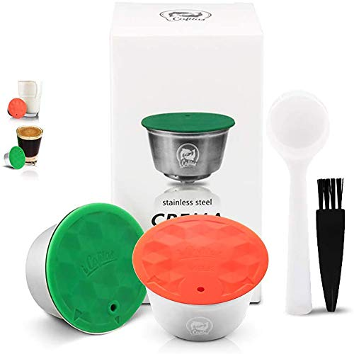 i Cafilas Stainless Steel Reusable Coffee Capsules and Milk Combo Set Compatible with Dolce Gusto Brewer,Stainless Steel Refillable Coffee Pods