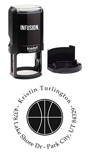 "Infusion Personalized Basketball Sports Return Address Stamp - 1-5/8"" Round Self-Inking Rubber Stamp"