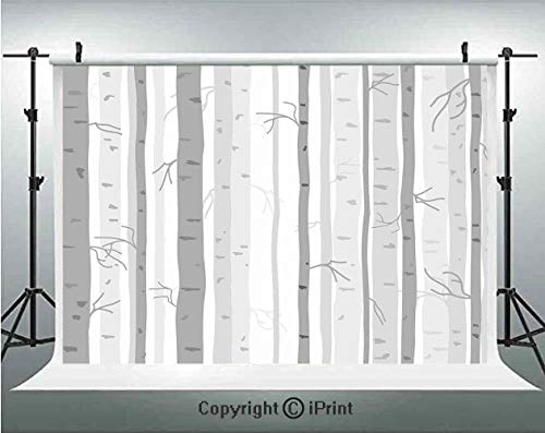 kdrops Birch Trees in Autumn Fall Branches Forest with Soft Colors Modern Graphic Print Decor Decorative,Birthday Party Background Customized Microfiber Photo Studio Props,5x3ft,As ()
