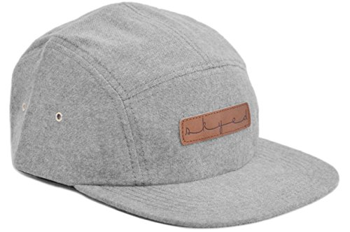 Skyed Apparel Premium 5 Panel Hat with Genuine Leather Strap (Multiple Colors) (Light Grey Brushed Cotton) -