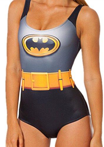Aidonger Mujeres Coloridamente de impresión digital sin respaldo del bikini traje de baño de Tankini Establece Batman