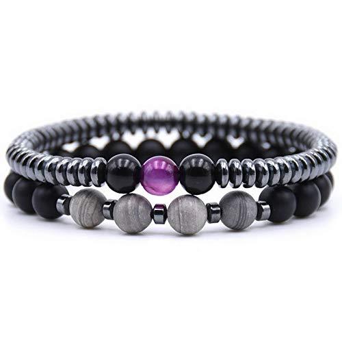 Mikash 2pcs Natural Stone Cubic Zirconia Round Ball Bead Women Mens Bracelets Jewelry | Model BRCLT - 7441 |]()