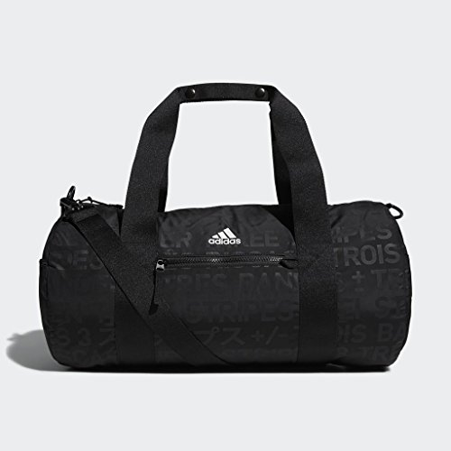 adidas VFA Roll Duffel Bag, Black Emboss/Black, One Size