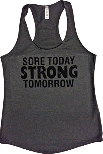 Orange Arrow Womens Workout Clothing (L, Grey) - Sore Today Strong Tomorrow - Yoga Tank Top