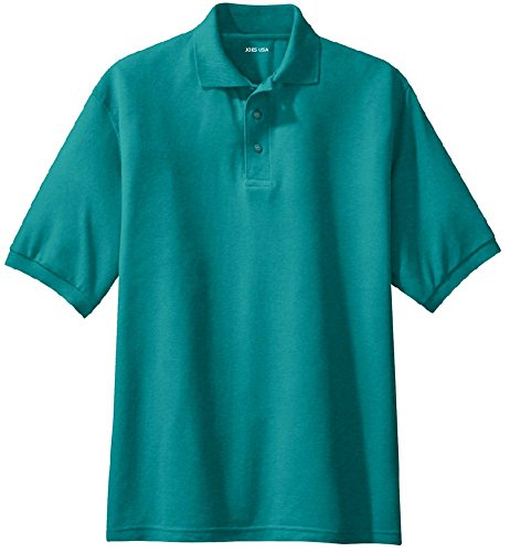 Joe's USA Men's Classic Polo Shirts - Tall 3X-Large 3XLT (50-53) - Teal Green (Blend Pique Knit Sport Shirt)