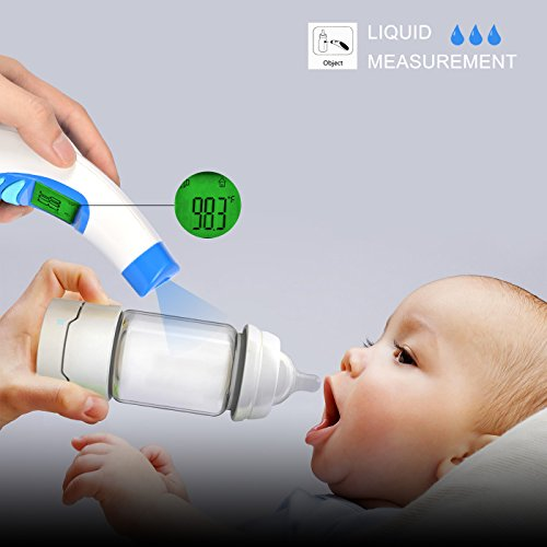 Non-contact Digital Forehead Ear Fever Thermometer - Fast 1 sec Result - Backlit Large Display for Baby, Toddlers and Adults FDA Approved