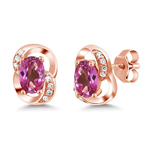 1.31 Ct Oval Pink Mystic Topaz 18K Rose Gold Plated Silver Earrings