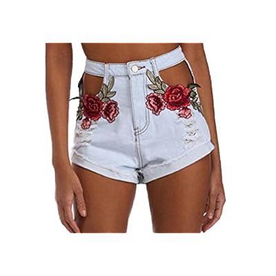 xiaokong Women's Hipster Jean Hole Print Midi Shorts Hot Night Pants for sale