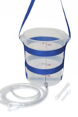 Enema Kit – Clear 3.5 Qt HDPE Plastic Enema Bucket- BPA Free -Silicone Enema Hose- Made in The USA- Extra Large Enema Bucket Will Hold 12 Cups of Water – Perfect for Large Volume Enemas