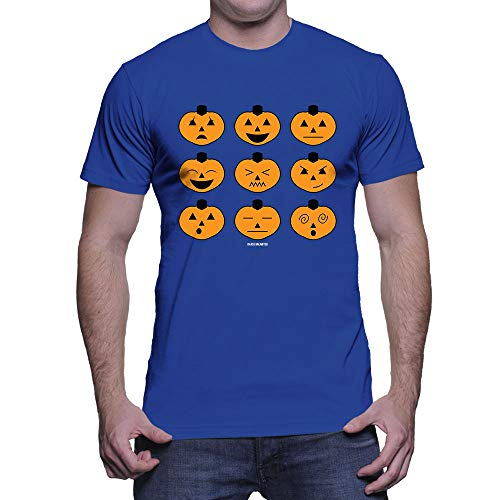 HAASE UNLIMITED Men's Halloween Pumpkin Icons T-Shirt (Royal, XXX-Large) -