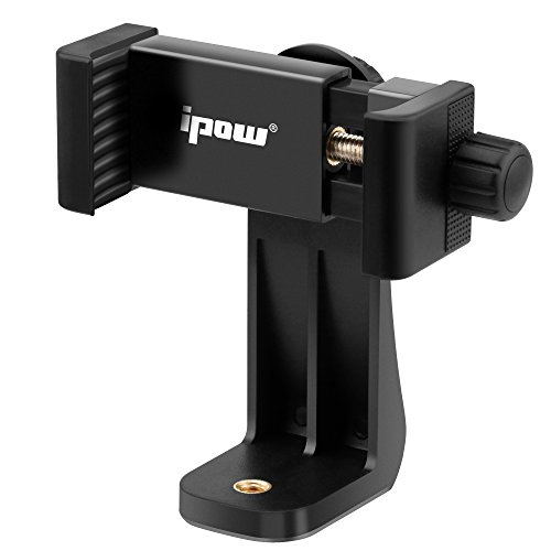 IPOW Universal Cell Phone Tripod Mount/Vertical Bracket Holder Adapter Clamp for iPhone/Samsung Galaxy/Nexus Use on 1/4 Tripod, Monopod, Selfie Stick, and More