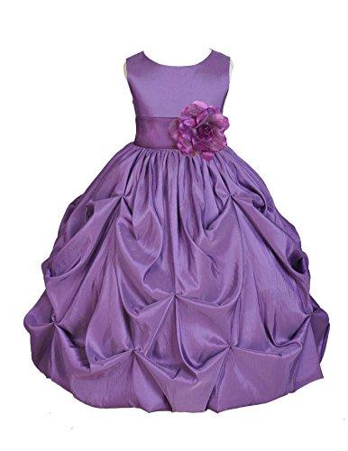 Taffeta Wedding Quinceanera Dress - Wedding Pageant Purple Bubble Pick-up Taffeta Flower Girl Dress Occasiosn 301s 8