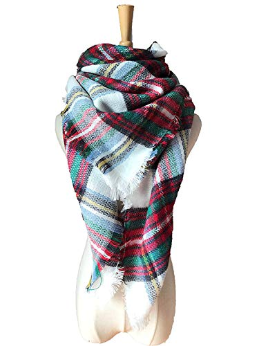 WINCAN Soft Warm Tartan Plaid Scarf Shawl Cape Blanket Scarves Fashion Wrap (White-03)