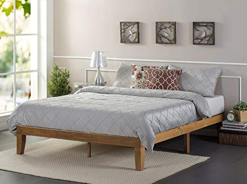 Zinus Alexia 12 Inch Wood Platform Bed / No Box Spring Needed / Wood Slat Support / Rustic Pine Finish, Twin (Renewed)