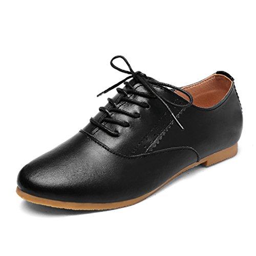 HWF Zapatos para mujer Zapatos de mujer de primavera Zapatos planos individuales de estilo Zapatos de estudiante de cuero de estilo artístico Mujer ( Color : Blanco , Tamaño : 35 ) Negro