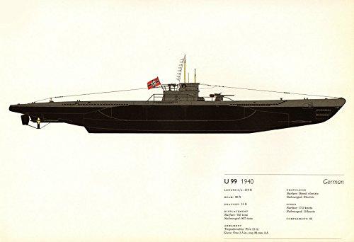 U-boot Submarine (U-99 (1940). German submarine. U-boat. U-Boot. Hugh Evelyn - 1970 - old print - antique print - vintage print - printed prints of Germany)