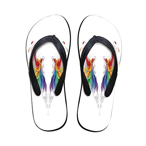 Rainbow Comfortable Flip Flops,Reaistic Looking Feathers in Raimbow Colors Forming Wings Flight Angels Symmetrical Decorative for Pool Garden,US Size 5