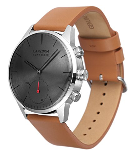 LANZOOM Series Weser Mens Wristwatch Multifunction Android iOS Quartz Smart Watch 5ATM Water Resistant Best Gift For Him (Grey + Coffee) by LANZOOM