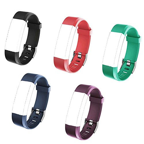 REDGO ID115 PLUS HR Replacement Bands for ID115Plus HR Fitness Tracker, ID115 HR Plus Smart Watch, ID115HR Plus Watchbands, Black, Red, Teal, Blue, Purple by REDGO