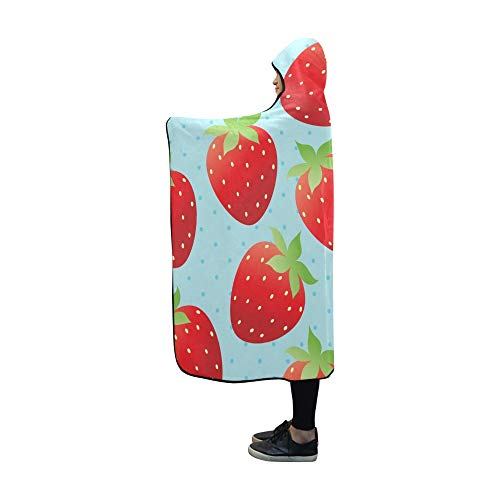 - WUTMVING Hooded Blanket Bright Strawberry Wallpaper Blanket 60x50 Inch Comfotable Hooded Throw Wrap