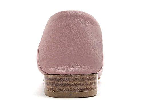 Karen Witte Dames Roze Instappers Lederen Vierkante Neus Flats Schoenen Roze