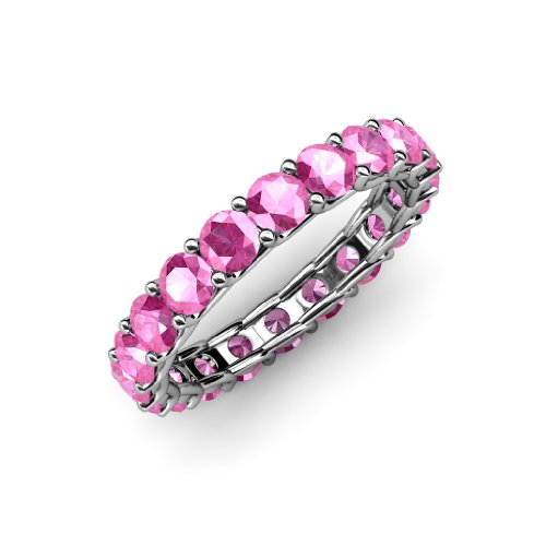 Pink Sapphire 3.4mm Eternity Band 2.68 cttw to 3.31 cttw in 14K Gold