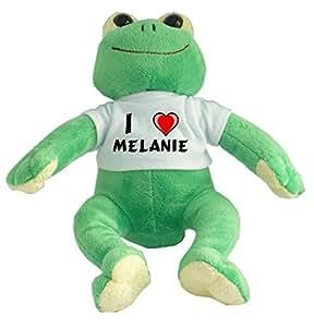 Rana de peluche con Amo Melanie en la camiseta (nombre de pila/apellido/apodo)